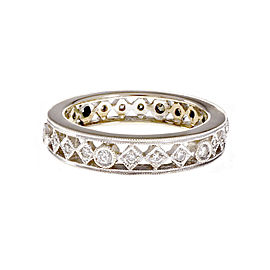18K White Gold with Diamond Open Work Eternity Band Ring Size 6.75