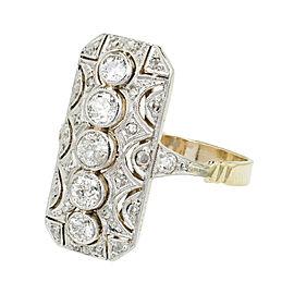14K Rose Gold & Platinum Diamond Ring Size 9