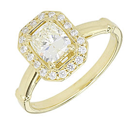 14K Yellow Gold Diamond Halo Ring Size 7