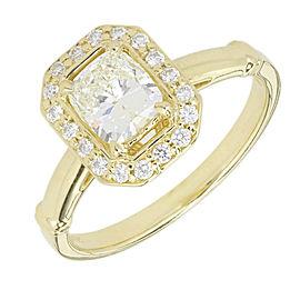 14K Yellow Gold Diamond Halo Ring Size 7