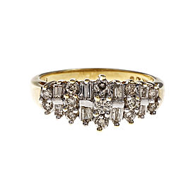 14K Yellow Gold with Round & Baguettes Diamond Ring Size 7.25