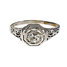14K White Gold Art Deco Diamond Ring Size 7.5