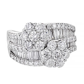 18K White Gold Diamond Cluster Ring Size 9.25
