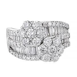 18K White Gold Diamond Cluster Ring Size 9.25