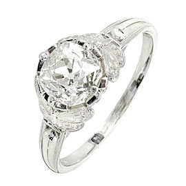 Platinum Old Mine Cut Diamond Ring Size 6.75