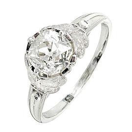Platinum Old Mine Cut Diamond Ring Size 6.75