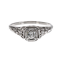 18K White Gold Diamond Ring Size 8.25