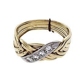14K Yellow & White Gold Diamond 8 Row Puzzle Ring Size 11