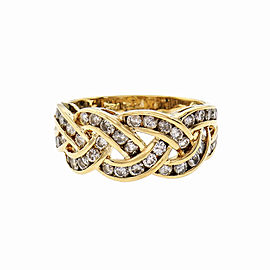 3 Row Braided Channel Set Diamond Ring 14k Gold