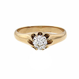 Victorian 1900 Old Mine Brilliant Cut Diamond Ring 14k Rose Gold