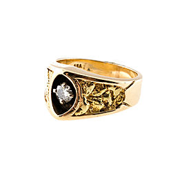 14K Yellow Gold with 0.25ct Diamond Nugget Alaskan Recessed Ring Size 6.75
