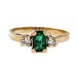 14k Yellow Gold 0.50ct Emerald Cut Genuine Emerald and 0.10ctw Diamond Ring Size 7.5
