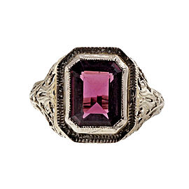 Art Deco 14K White Gold 3.11ct Pinkish Red Rhodolite Garnet Filigree Ring Size 6