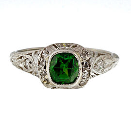 Vintage Edwardian Platinum .74ctw Demantoid Garnet and Diamond Ring Size 6.5
