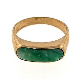 Vintage 18K Rose Gold Jadeite Jade Saddle Ring Size 7