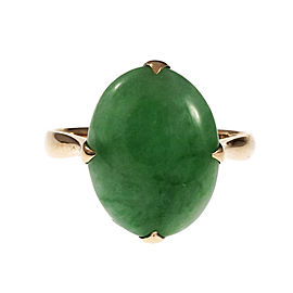Vintage 14K Rose Gold Jadeite Jade Oval Ring Size 6