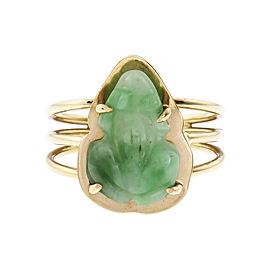 Mottled Green Natural Jade Carved Frog Ring 14k Gold GIA Certified