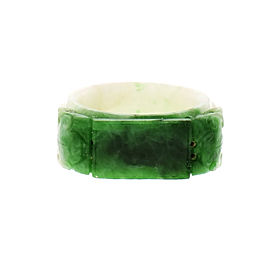 Natural Jadeite Jade Carved Saddle Ring GIA Certified