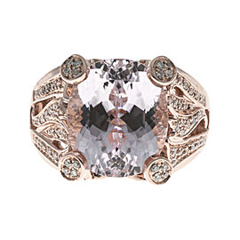 Sonia B Vintage 14K Rose Gold with 8.0ct Purplish Pink Kunzite & 0.65ct Diamond Ring Size 8