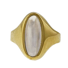 Vintage 18k Yellow Gold Elongated Moonstone Ring Size 7.25