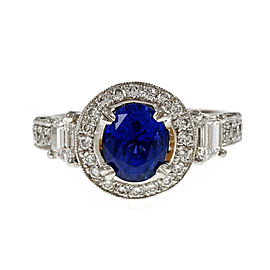 Platinum with Diamond and 2.07ct Sapphire Engagement Ring Size 6.75