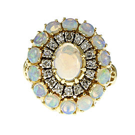18K Yellow Gold with Opal & Diamond Dome Ring Size 5.5