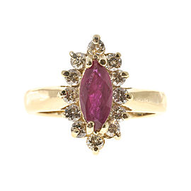 14K Yellow Gold with 0.75ct Ruby & 0.24ct Diamond Ring Size 3.75