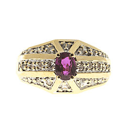 14K Yellow Gold 0.60ct Pinkish Red Ruby and Diamond Ring Size 6.25