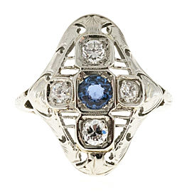 Vintage Art Deco 18K White Gold with 0.25ct Sapphire and Diamond Ring Size 4