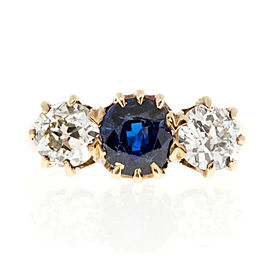 14K Yellow Gold with 0.90ct Sapphire & 1.15ct Diamond Ring Size 5.75