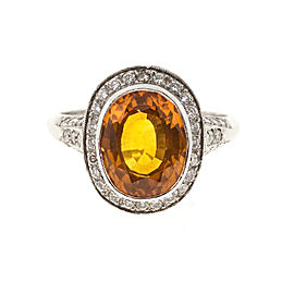 Platinum with 4.00ct Orange Sapphire & 1.20ct. Diamond Filigree Ring Size 5.5