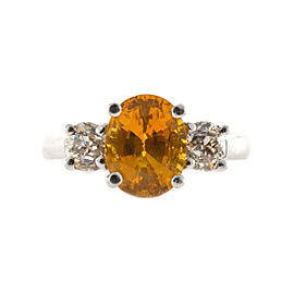 Platinum with 3.37ct. Orange Sapphire & 1.01ct. Diamond Ring Size 6.5