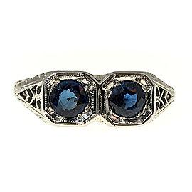 Vintage Rare Art Deco 14K White Gold 0.90ct Blue Sapphire Filigree Ring Size 7.5