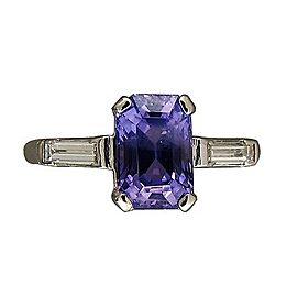 Vintage Platinum 2.71ct Emerald Cut Purple Sapphire and Diamond Art Deco Ring Size 5.5