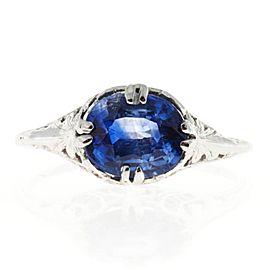 Art Deco 14K White Gold 1.77ct Sapphire Ring Size 5.75