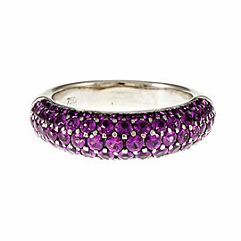 18K White Gold Pink Sapphire Row Ring Size 8.5