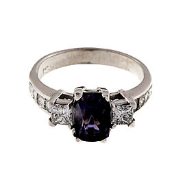 14K White Gold and Platinum 1.74ct Purple Spinel Diamond Engagement Ring Size 6