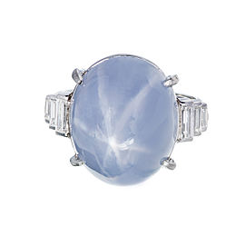 Art Deco Platinum with 30.0ct Domed Star Sapphire & Baguette Diamond Ring Size 6.5