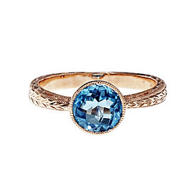 14K Pink Gold Blue Topaz Ring Size 6.75