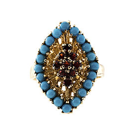 Vintage 14K Yellow Gold Bright Blue Turquoise and Garnet Ring Size 6.75