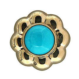 Vintage Estate Italian Flower 14k Ring 11.5mm Bright Blue Turquoise
