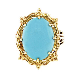 14K Yellow Gold with Turquoise Ring Size 7.75