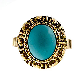 Vintage Natural Turquoise 18k Yellow Gold Ring Size 5.75