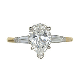 Vintage Oscar Heyman Platinum and 18K Yellow Gold Diamond Ring Size 5.5