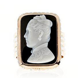14K Pink Gold & Platinum With Hardstone Ring Size 9.75