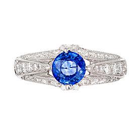 Tacori Gia Certified .93 Carat Sapphire Diamond Platinum Engagement Ring
