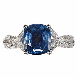 Tacori GIA Certified Sapphire Diamond Platinum Ring