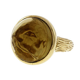 14k Yellow Gold Bezel Set 12.71ct Cabochon Set Smoky Quartz Ring Size 7.25