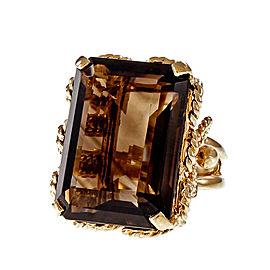 Vintage 14K Yellow Gold Smoky Quartz Ring Size 8