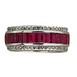 Sonia B Vintage 18K White Gold 6.50ct Bright Red Ruby & 1.00ct Diamond Ring Size 8